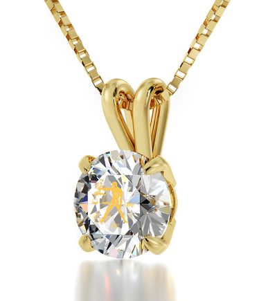 14k Yellow Gold Libra Necklace Zodiac Pendant 24k Gold Inscribed on Crystal - NanoStyle Jewelry