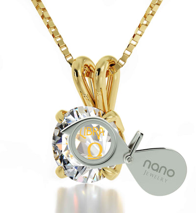 14k Yellow Gold Libra Necklace Zodiac Pendant 24k Gold Inscribed on Crystal