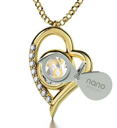 Gold Plated Libra Necklace Zodiac Heart Pendant 24k Gold Inscribed on Crystal