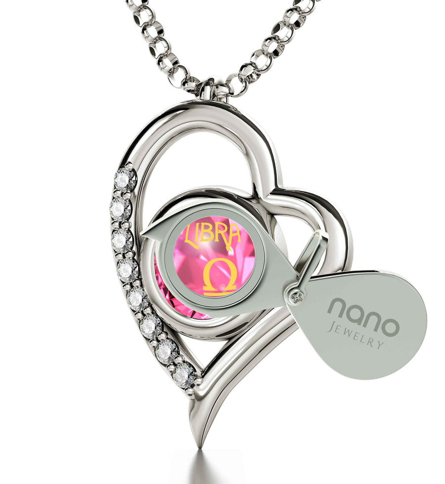925 Sterling Silver Libra Necklace Zodiac Heart Pendant 24k Gold inscribed on Crystal - NanoStyle Jewelry