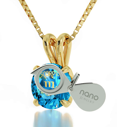 Gold Plated Scorpio Necklace Zodiac Pendant 24k Gold Inscribed on Crystal - NanoStyle Jewelry