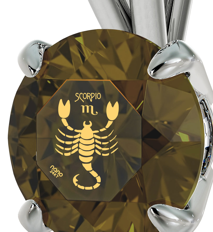 925 Sterling Silver Scorpio Necklace Zodiac Pendant 24k Gold Inscribed on Crystal