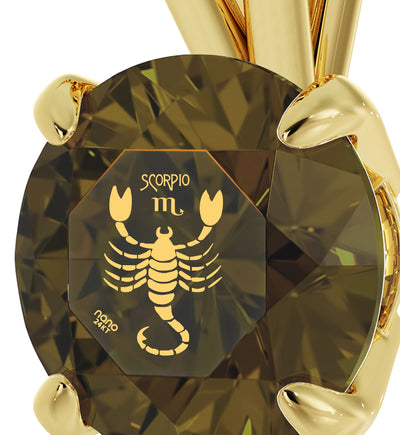 14k Yellow Gold Scorpio Necklace Zodiac Pendant 24k Gold Inscribed on Crystal