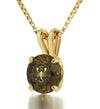 Gold Plated Scorpio Necklace Zodiac Pendant 24k Gold Inscribed on Crystal