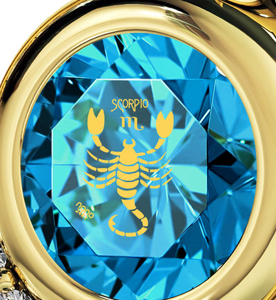 Gold Plated Scorpio Necklace Zodiac Heart Pendant 24k Gold Inscribed on Crystal - NanoStyle Jewelry
