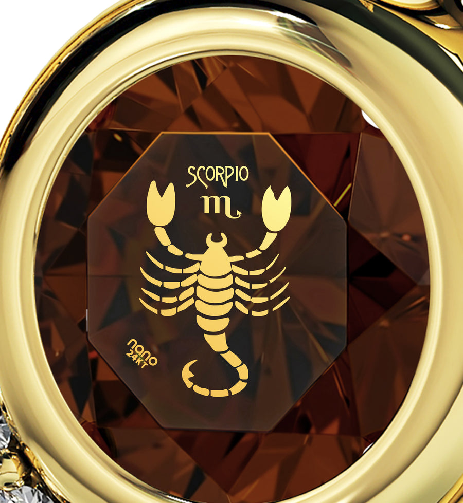 Gold Plated Scorpio Necklace Zodiac Heart Pendant 24k Gold Inscribed on Crystal
