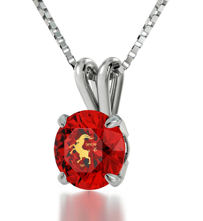 925 Sterling Silver Capricorn Necklace Zodiac Pendant 24k Gold inscribed on Crystal - NanoStyle Jewelry