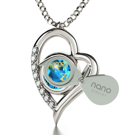 925 Sterling Silver Capricorn Necklace Zodiac Heart Pendant 24k Gold inscribed on Crystal - NanoStyle Jewelry
