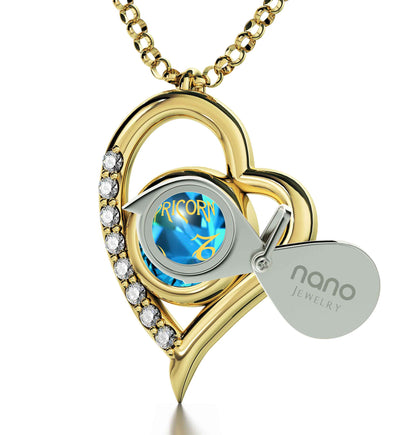Gold Plated Capricorn Necklace Zodiac Heart Pendant 24k Gold inscribed on Crystal