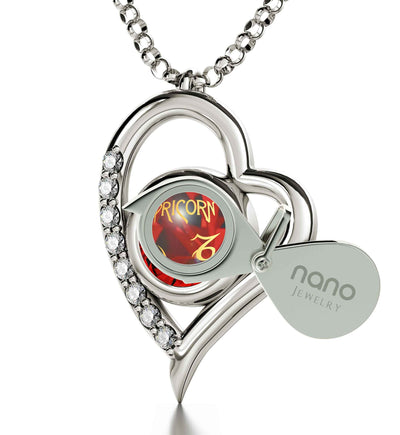 925 Sterling Silver Capricorn Necklace Zodiac Heart Pendant 24k Gold inscribed on Crystal