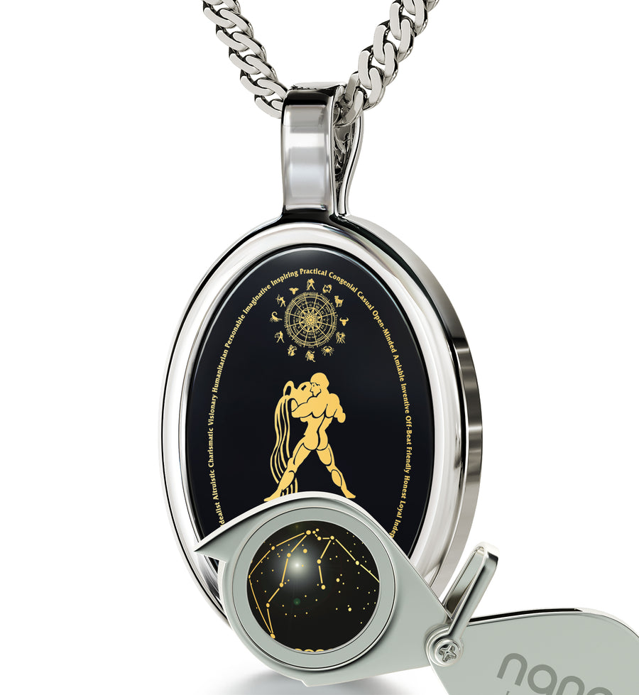 Aquarius Necklace Zodiac Pendant 24k Gold Inscribed on Onyx Stone - NanoStyle Jewelry