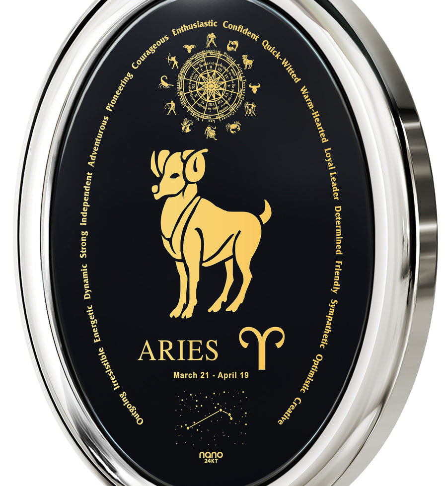 Aries Necklace Zodiac Pendant 24k Gold Inscribed on Onyx Stone - NanoStyle Jewelry