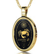 Cancer Necklace Zodiac Pendant 24k Gold Inscribed on Onyx Stone - NanoStyle Jewelry