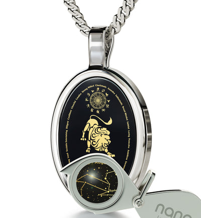 Leo Necklace Zodiac Pendant 24k Gold Inscribed on Onyx Stone - NanoStyle Jewelry