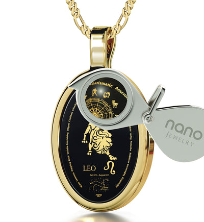 Leo Necklace Zodiac Pendant 24k Gold Inscribed on Onyx Stone