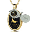 Scorpio Necklace Zodiac Pendant 24k Gold Inscribed on Onyx Stone