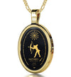 Sagittarius Necklace Zodiac Pendant 24k Gold Inscribed on Onyx Stone