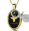 Capricorn Necklace Zodiac Pendant 24k Gold Inscribed on Onyx Stone - NanoStyle Jewelry