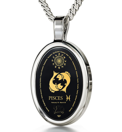 Pisces Necklace Zodiac Pendant 24k Gold Inscribed on Onyx Stone - NanoStyle Jewelry