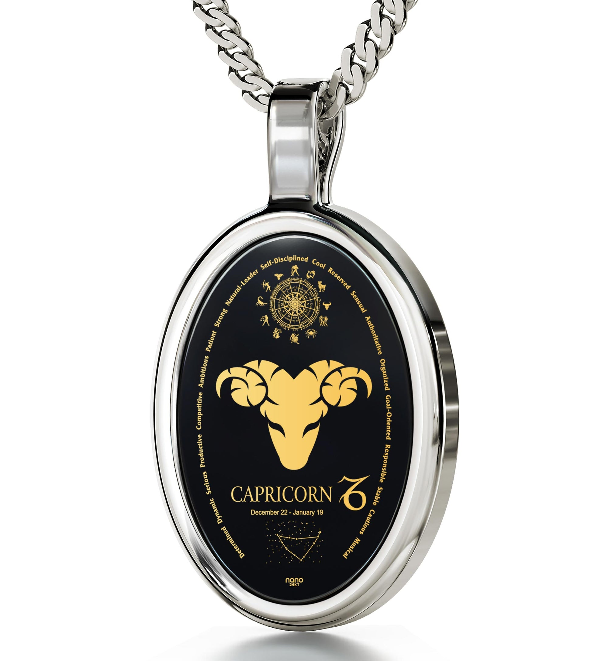zodiac gold pendant capricorn yellow