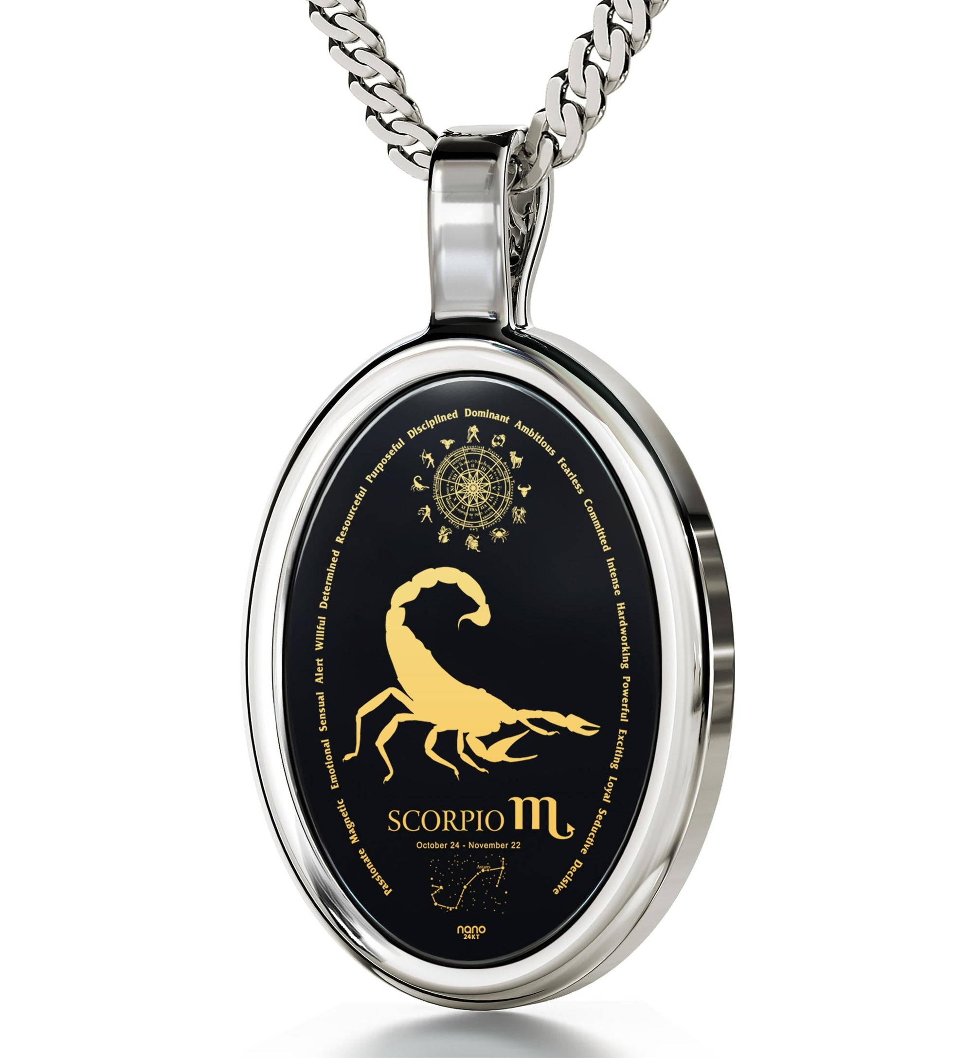 Scorpio Necklace Zodiac Pendant 24k Gold Inscribed on Onyx Stone - NanoStyle Jewelry