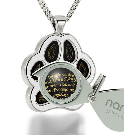 Paw Print Necklace 24k Gold Inscribed in 60 Different Languages