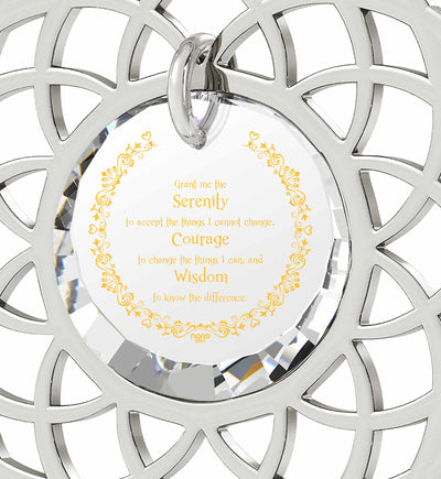 Silver Serenity Prayer Necklace Mandala Pendant Inscribed in 24k Gold