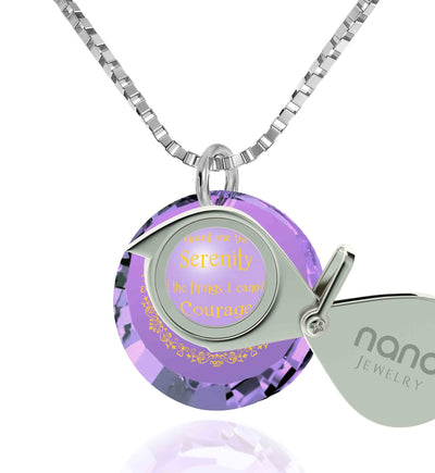 Serenity Prayer Necklace Inspirational Pendant Inscribed in 24k Gold