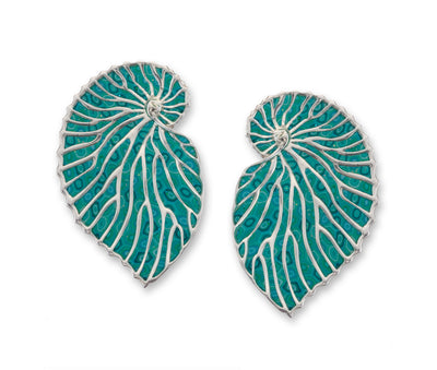 925 Sterling Silver Nautilus Shell Large Stud Earrings