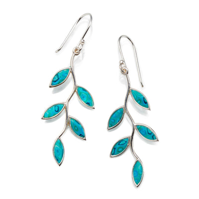 925 Sterling Silver Olive Leaf Dangle Earrings - NanoStyle Jewelry