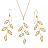 Gold Plated 925 Silver Olive Leaf Jewelry Set Handmade Necklace and Earrings - NanoStyle Jewelry
