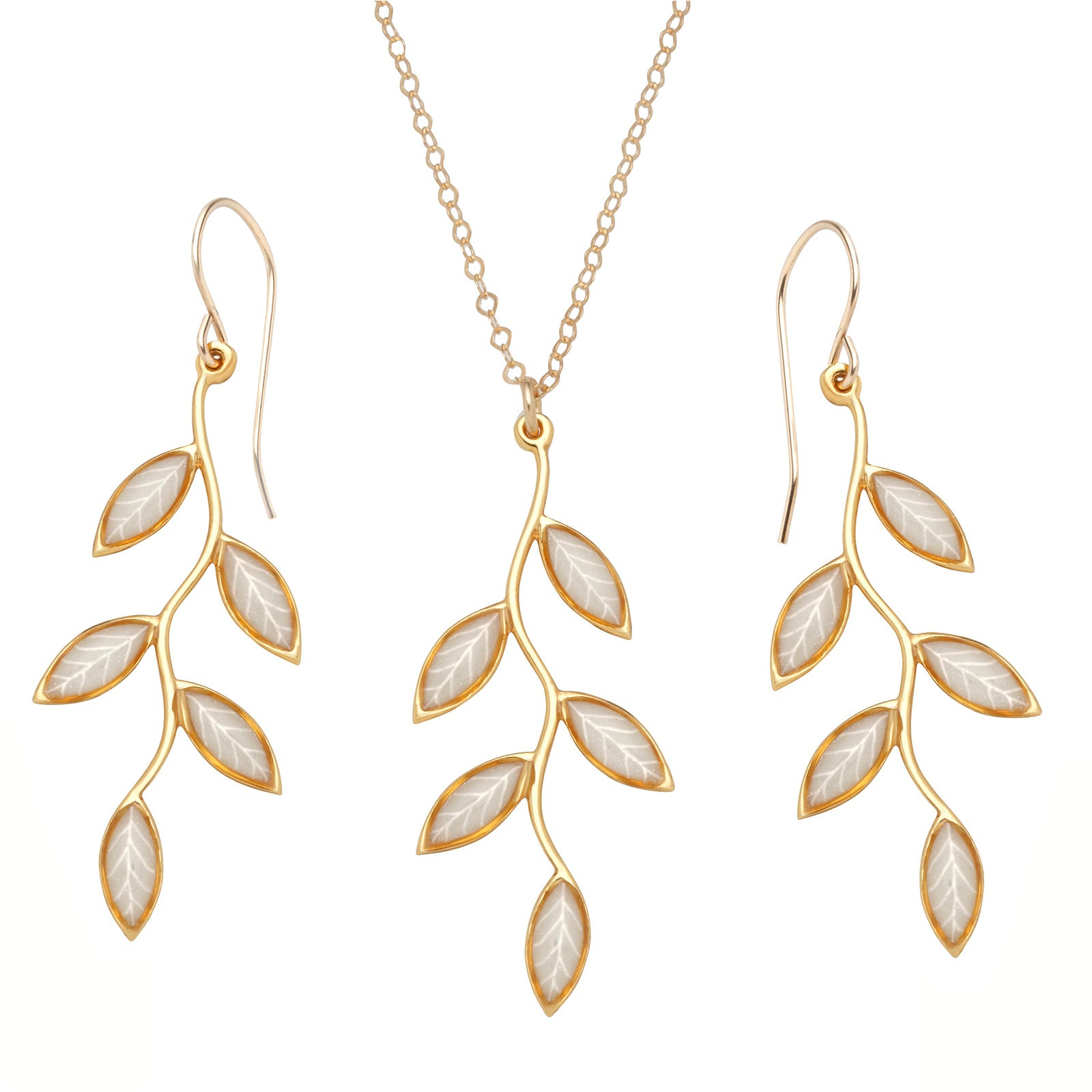 Gold plated 925 silver olive leaf jewelry set handmade necklace and gold plated 925 silver olive leaf jewelry set handmade necklace and earrings nanostyle jewelry aloadofball Image collections