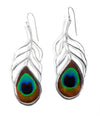 925 Sterling Silver Peacock Feather Drop Earrings - NanoStyle Jewelry