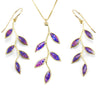 Gold Plated 925 Silver Olive Leaf Jewelry Set Handmade Necklace and Earrings