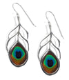 925 Sterling Silver Peacock Feather Drop Earrings