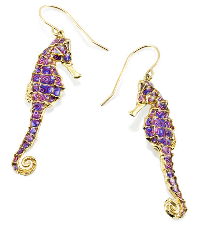 Gold Plated 925 Sterling Silver Seahorse Dangle Earrings - NanoStyle Jewelry