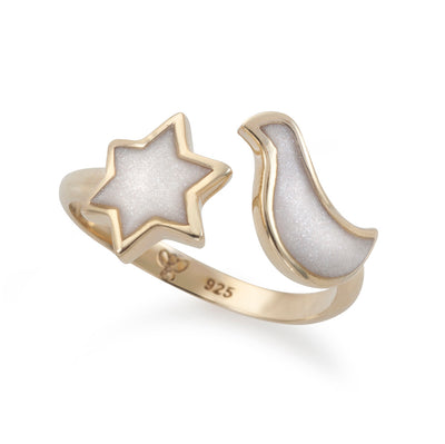 Gold Plated Silver Star of David and Dove Wrap Ring Adjustable Sizes 6 - 7