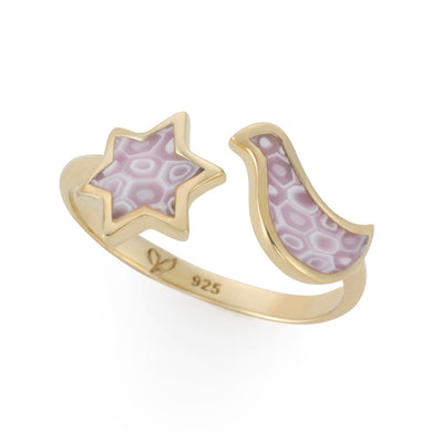 Gold Plated Silver Star of David and Dove Wrap Ring Adjustable Sizes 6 - 7 - NanoStyle Jewelry