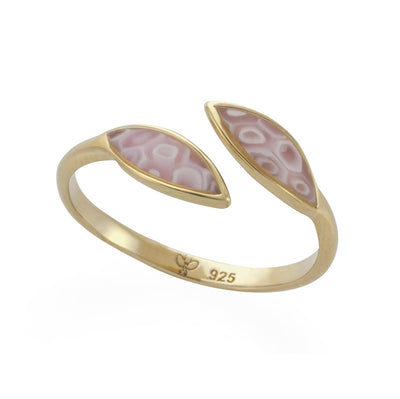 Gold Plated 925 Sterling Silver Olive Leaf Wrap Ring Adjustable Sizes 6 - 7 - NanoStyle Jewelry