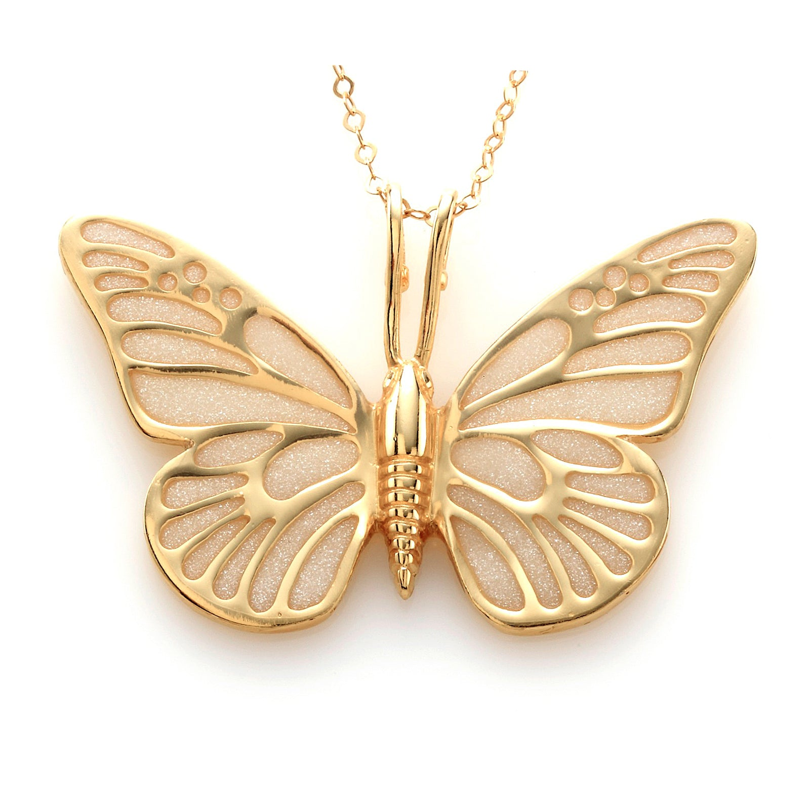 d891119a55b51 Gold Plated 925 Sterling Silver Butterfly Necklace Handcrafted Pendant