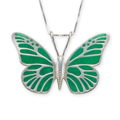 925 Sterling Silver Butterfly Necklace Handcrafted Pendant
