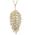 Gold Plated Silver Large Palm Tree Leaf Necklace Pendant