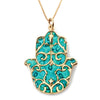 Gold Plated 925 Silver Hamsa Necklace Handcrafted Fleur de Lis Pendant