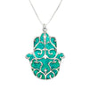925 Sterling Silver Hamsa Necklace Handcrafted Fleur de Lis Pendant - NanoStyle Jewelry