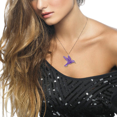 Gold Plated Sterling Silver Hummingbird Necklace Pendant