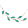 Gold Plated Sterling Silver Large Olive Leaf Necklace Pendant