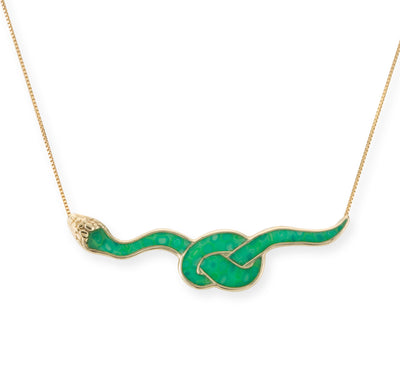 Gold Plated 925 Sterling Silver Snake Necklace Pendant - NanoStyle Jewelry