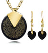 I Love You Necklace Set 24k Gold Inscribed in 120 Languages on Round Spinning Onyx