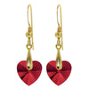 Gold Plated Swarovski Crystal Heart Drop Earrings