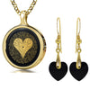 I Love You Necklace Inscribed in 120 Languages with 24k Gold on Onyx and Crystal Heart Earrings Jewelry Set
